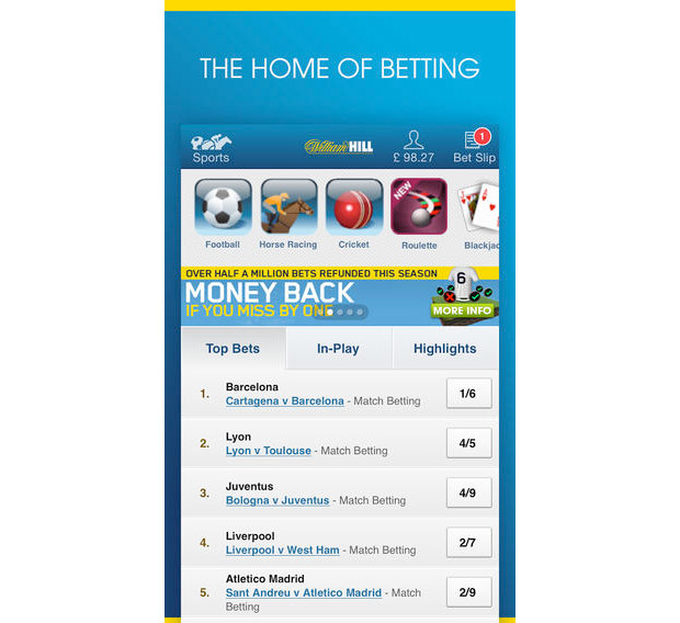 william hill app not working